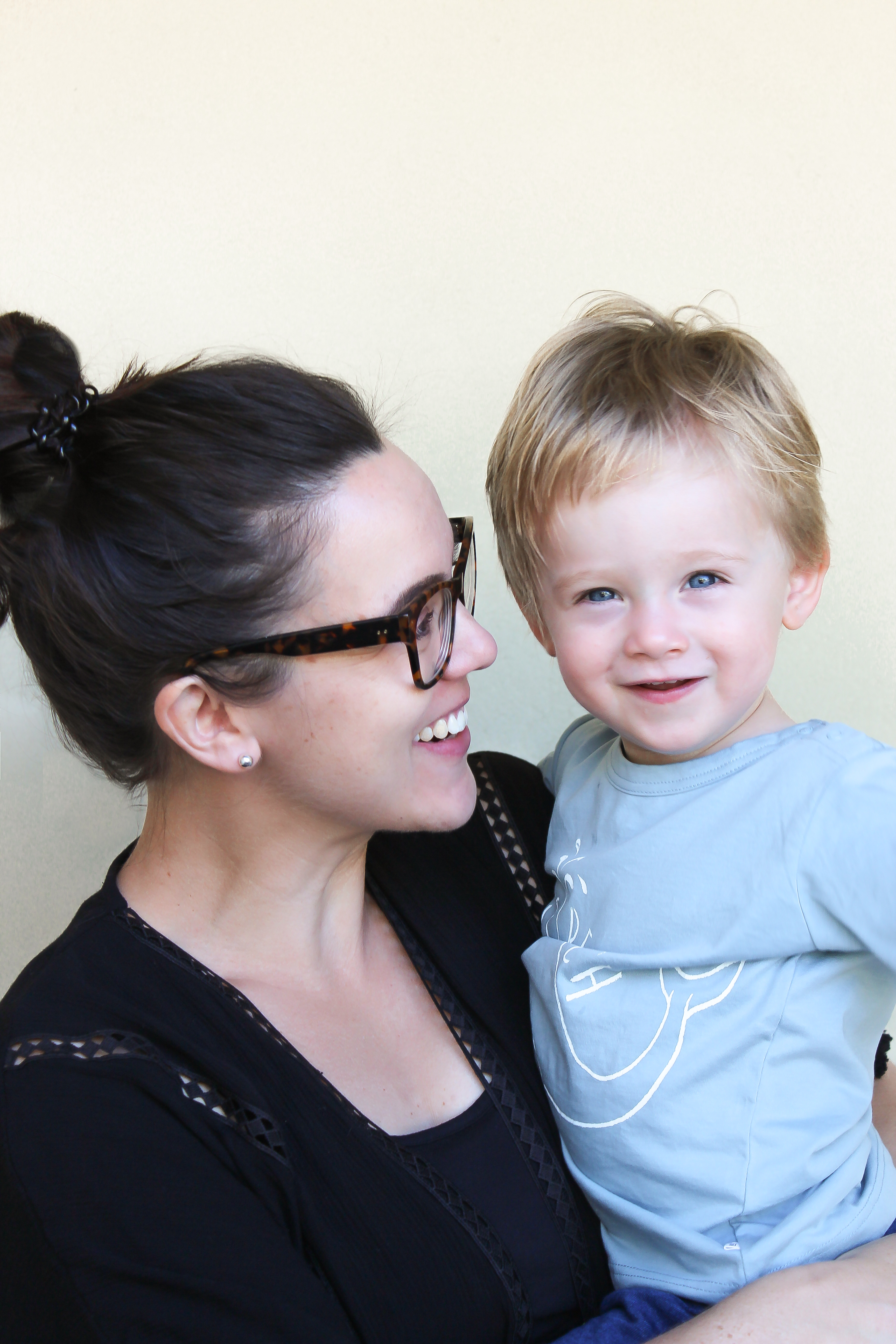 Wrigglebum founder and creator, Beck Mullally, with her son Lewis